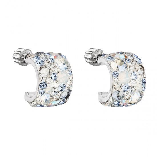 Stříbrné náušnice visací s krystaly Swarovski modrý půlkruh 31280.3 light sapphire