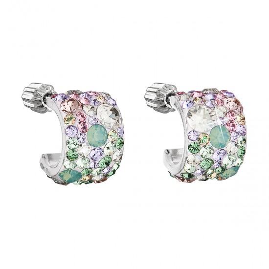 Stříbrné náušnice visací s krystaly Swarovski mix barev půlkruh 31280.3 sakura