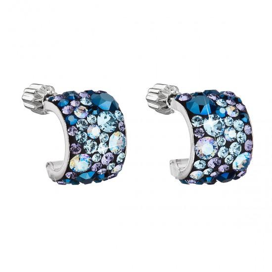 Stříbrné náušnice visací s krystaly Swarovski modrý půlkruh 31280.3 blue style