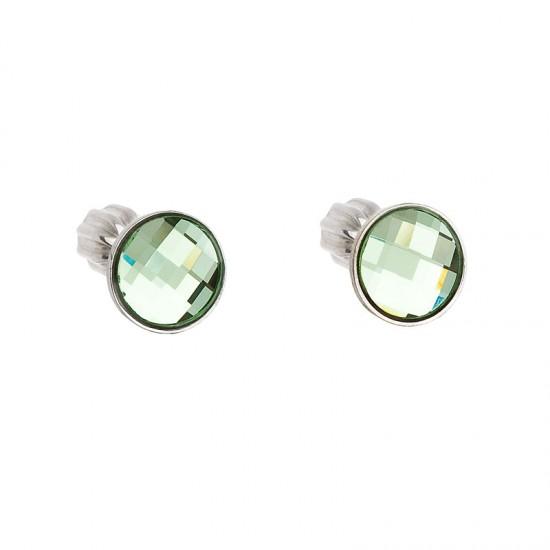 Stříbrné náušnice pecka s krystaly Swarovski zelené kulaté 31137.3