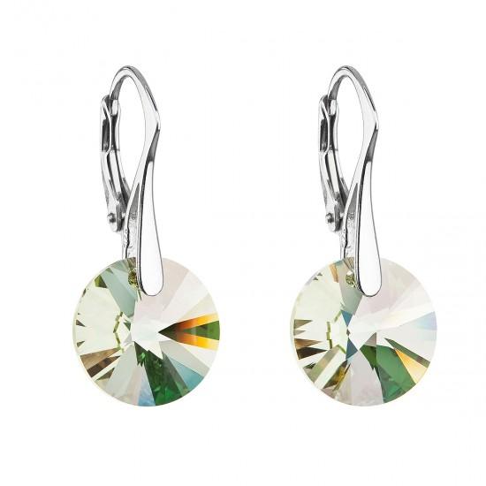 Stříbrné náušnice visací s krystaly Swarovski zelené kulaté 31285.6