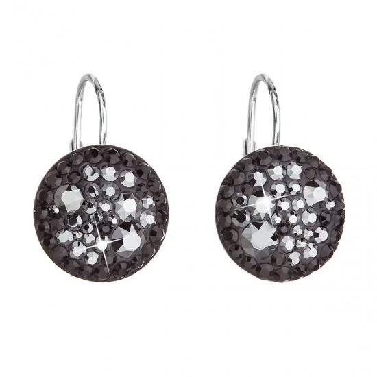Stříbrné náušnice visací s krystaly Swarovski černé kulaté 31176.5 hematite