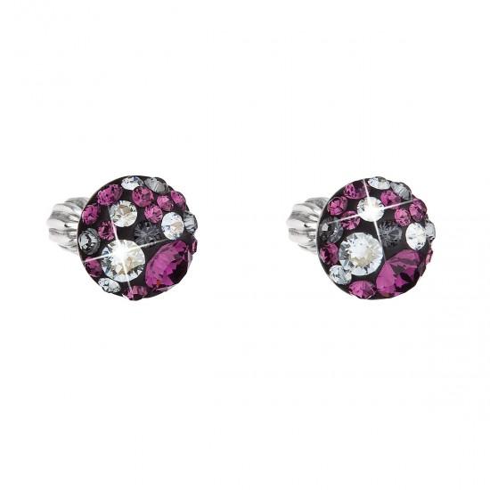 Stříbrné náušnice pecka s krystaly Swarovski fialové kulaté 31336.3 dark amethyst