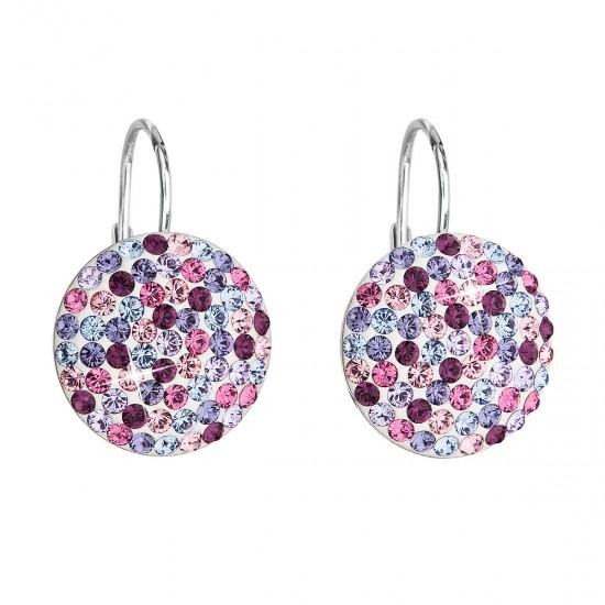 Stříbrné náušnice visací s krystaly Swarovski mix fialové kulaté 31176.3
