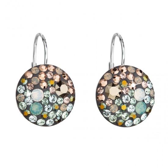 Stříbrné náušnice visací s krystaly Swarovski mix barev kulaté 31176.4 chameleon