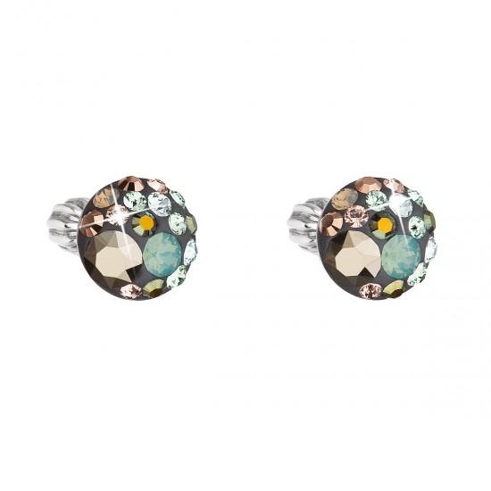 Stříbrné náušnice pecka s krystaly Swarovski mix barev kulaté 31336.4 chameleon