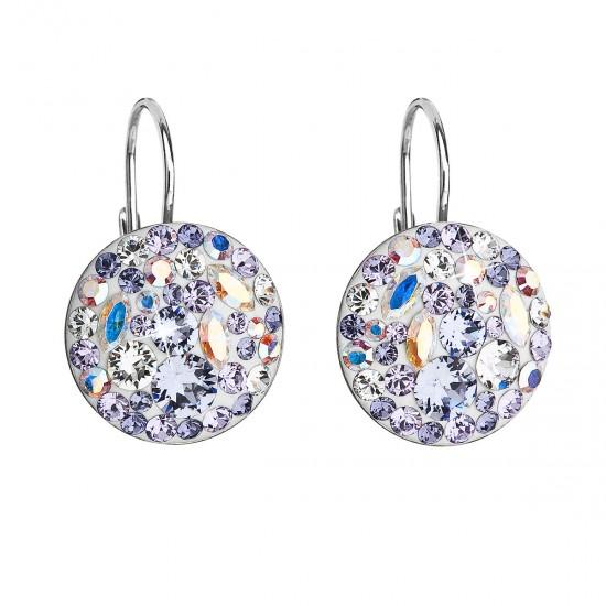 Stříbrné náušnice visací s krystaly Swarovski fialové kulaté 31176.3 violet