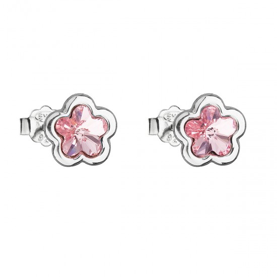 Stříbrné náušnice pecka s krystaly Swarovski růžová kytička 31255.3 light rose