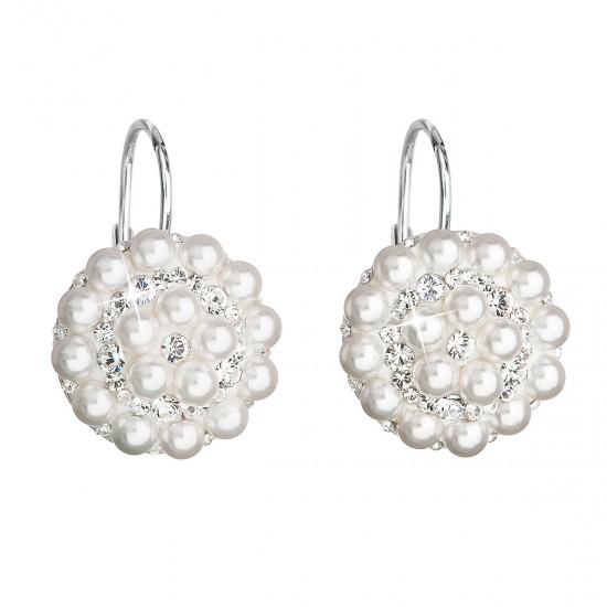 Stříbrné náušnice visací s krystaly Swarovski bílé kulaté 31176.9