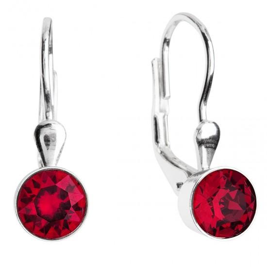 Stříbrné náušnice visací s krystaly červené kulaté 31112.3 ruby