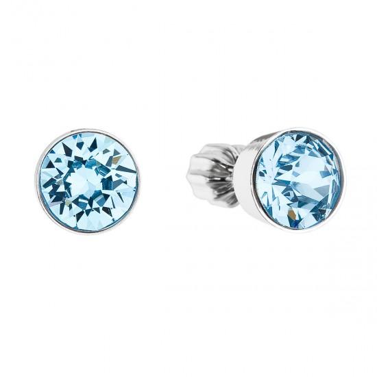 Stříbrné náušnice pecka s krystaly modré kulaté 31113.3 aqua