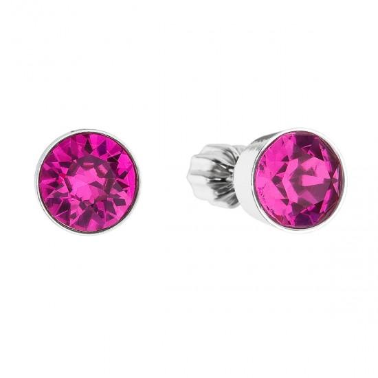 Stříbrné náušnice pecka s krystaly růžové kulaté 31113.3 fuchsia