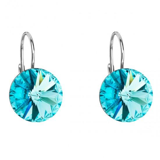 Stříbrné náušnice visací s krystaly Swarovski modré kulaté 31106.3 light turquoise