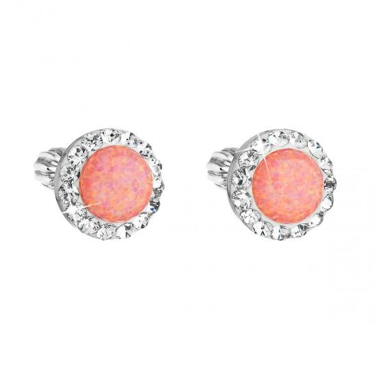 Stříbrné náušnice pecky se syntetickým opálem a krystaly Swarovski oranžové kulaté 31317.1