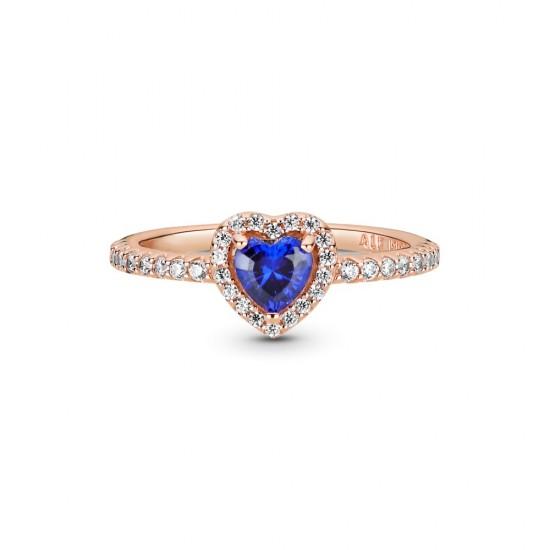 Prsten Třpytivé modré vyvýšené srdce