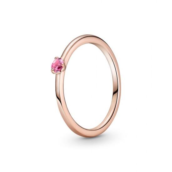 Růžový solitérní prsten