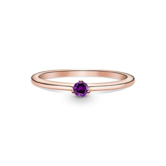 Fialový solitérní prsten