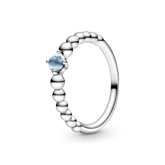 Vodově modrý kuličkový prsten