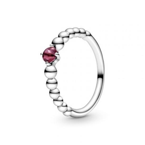 Zářivě červený kuličkový prsten