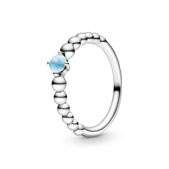 Nebesky modrý kuličkový prsten