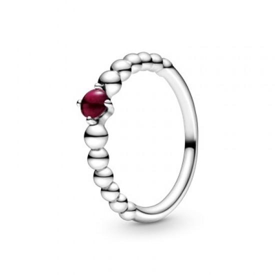 Tmavě červený kuličkový prsten