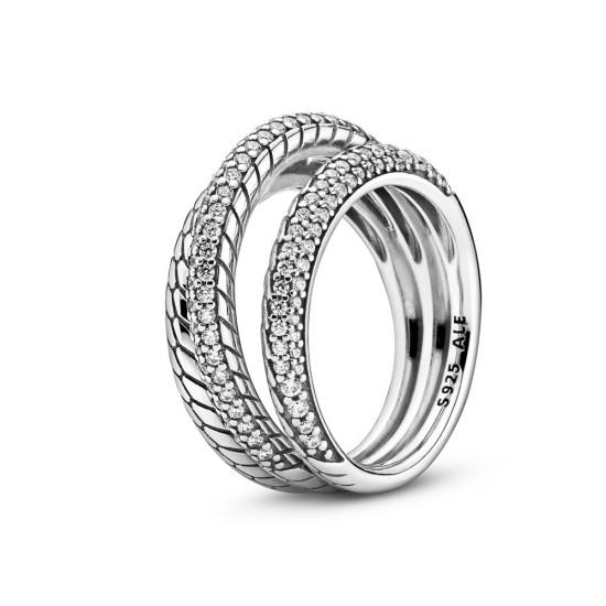 Trojitý prsten Hadovitý řetízkový a pavé vzor