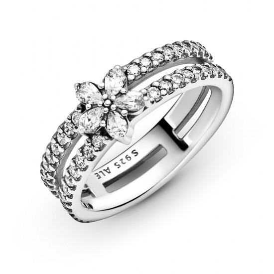 Dvojitý prsten Třpytivá sněhová vločka