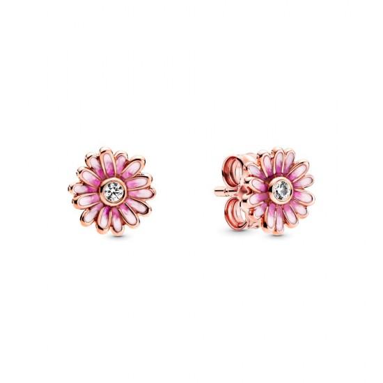 Puzetkové náušnice s ružovými sedmokráskami