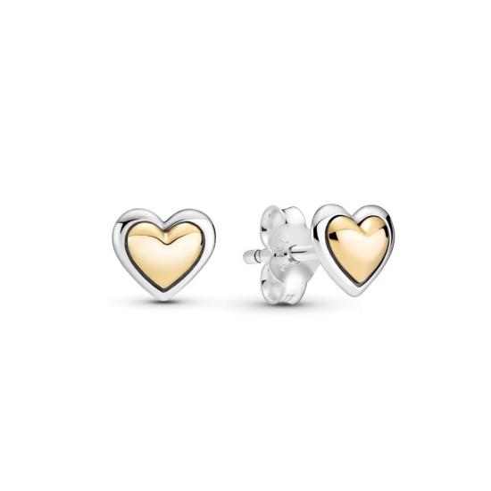 Peckové náušnice Klenuté zlaté srdce