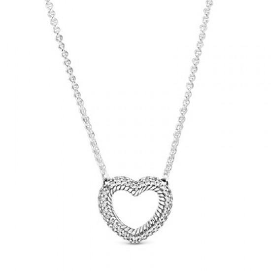Krátký náhrdelník Otevřené pavé srdce s hadovitým řetízkovým vzorem