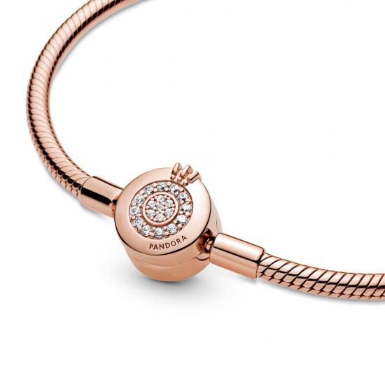 Hadovitý řetízkový náramek Pandora Moments Třpytivé O s korunkou