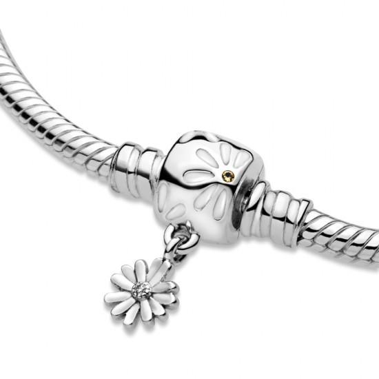 Ag925/1000, Hadovitý řetízkový náramek Pandora Moments Spona se sedmikráskou