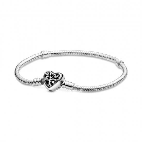 Hadovitý řetízkový náramek Pandora Moments Srdcová spona srodinným stromem