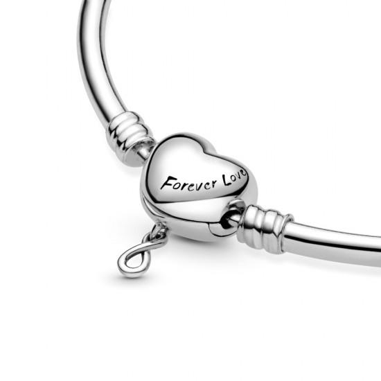Pevný náramek se sponou Pandora Moments Nekonečno a srdce
