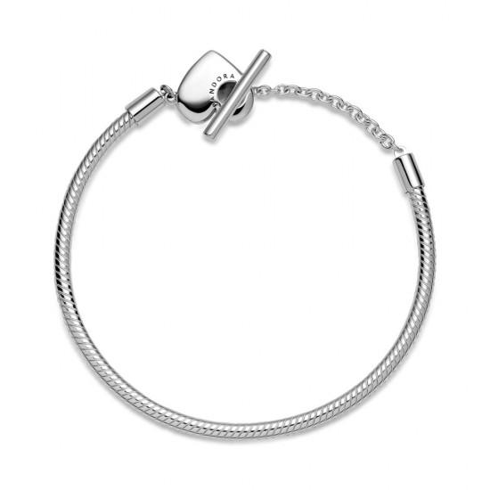 Hadovitý řetízkový náramek Pandora Moments Srdce s prvkem ve tvaru písmene T