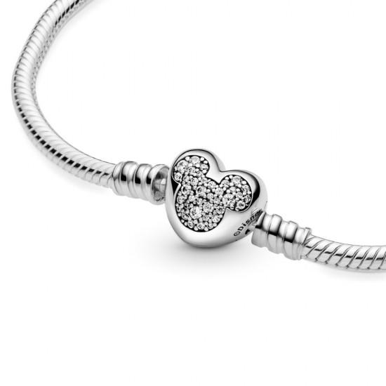 Hadovitý řetízkový náramek Disney Pandora Moments srdcová spona Mickey Mouse