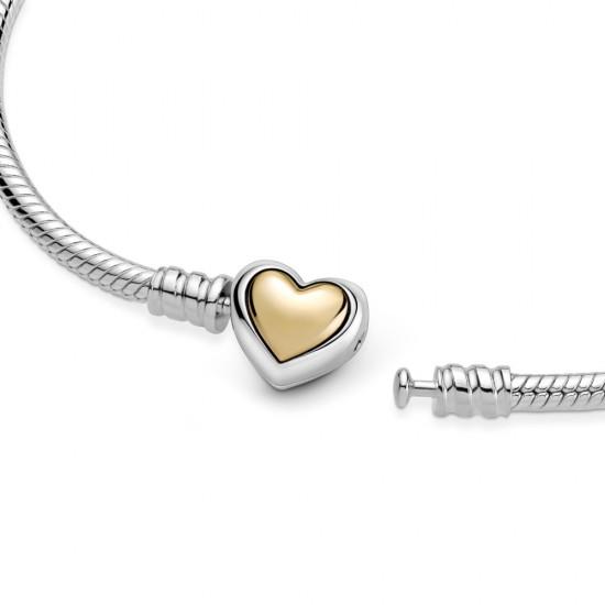 Hadovitý řetízkový náramek se sponou Klenuté zlaté srdce