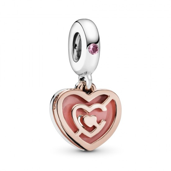 Pink Heart Labyrinth Dangle Charm
