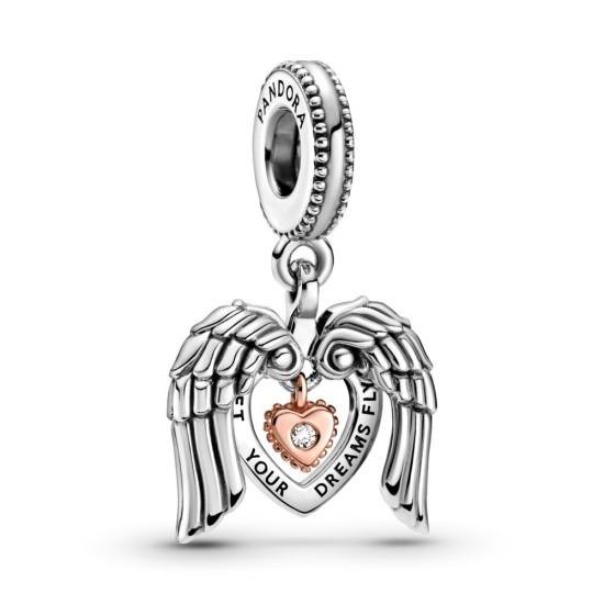 Klubový visací přívěsek Pandora 2021 Andělská křídla a srdce