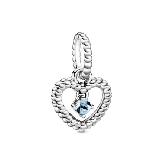 Visací přívěsek Vodově modré kuličkové srdce