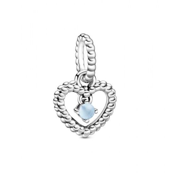 Visací přívěsek Nebesky modré kuličkové srdce