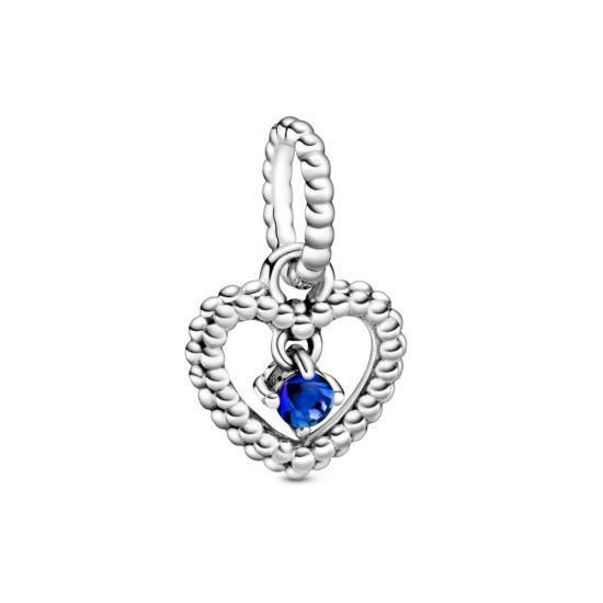 Visací přívěsek Mořsky modré kuličkové srdce