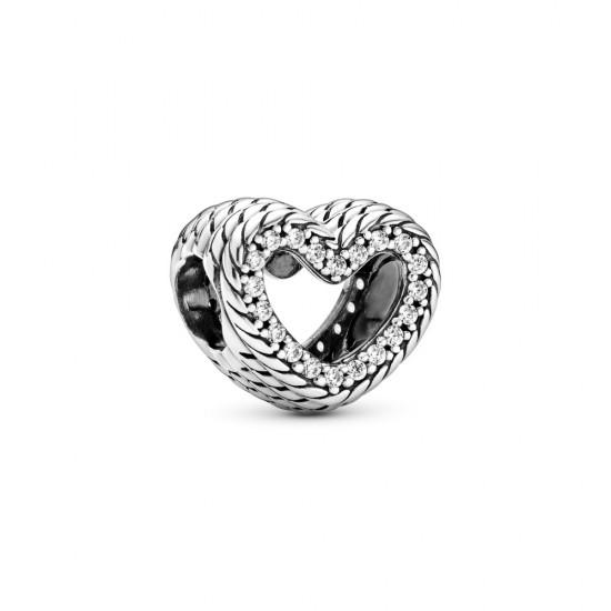 Přívěsek Otevřené srdce s hadovitým řetízkovým vzorem