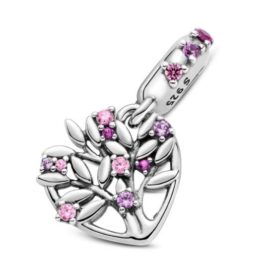 Visací přívěsek Růžové srdce se stromem rodiny