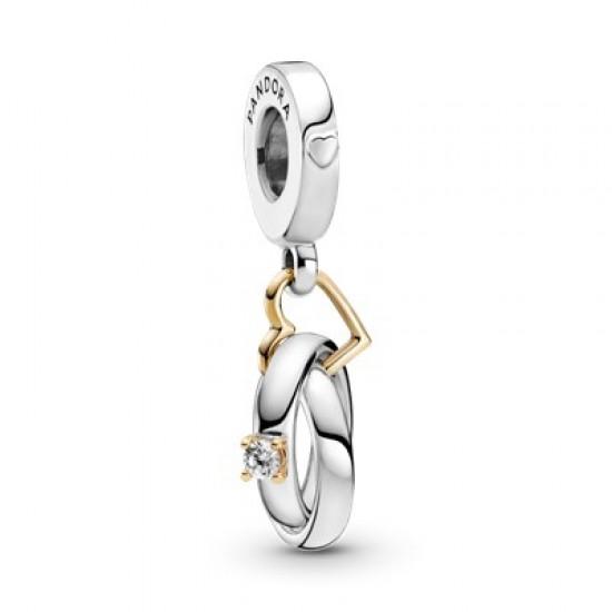 Visací přívěsek Dvoubarevné snubní prsteny